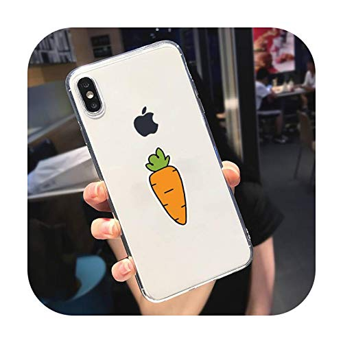 Lindo dibujos animados zanahoria teléfono caso transparente suave para iphone 5 5s 5c se 6 6s 7 8 11 12 plus mini x xs xr pro max-a12-para iphone 5C