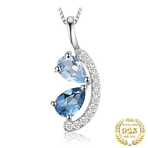 Collar Colgante de topacio Azul Natural Collar de declaración de Gargantilla de Piedras Preciosas de Plata esterlina 925 para Mujer sin Cadena