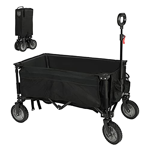 Timber Ridge Folding Camping Wagon Collapsible Beach Garden Trolley Cart Heavy Duty Utility Garden Yard Folding Cart with Side Pocket Cup Holders Carry Bag Black