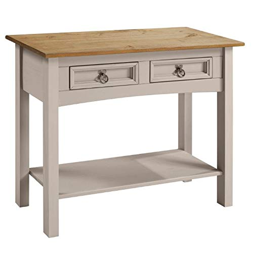 Corona Grey Wax 2 Drawer Console Table Light Fiesta Wax