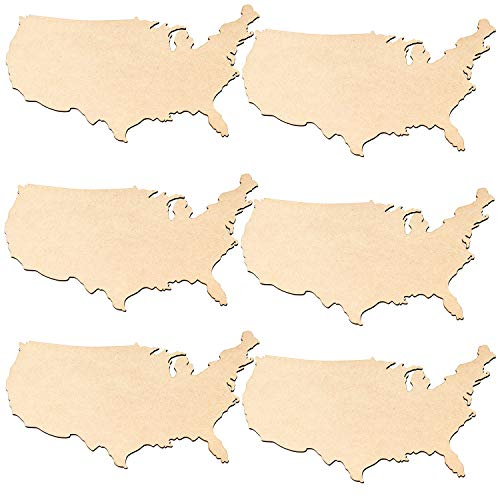 Unfinished Wood Cutout - 6-Pack USA Wooden Map, United States Cutout, USA Wood Pieces, for Craft Project, Geography Class Material, Home July 4th Party Decoration, 11.5 x 8.4 x 0.1 Inches