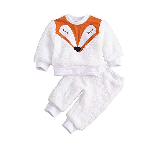 WangsCanis Chándal de bebé con estampado de cabeza de zorro, de dibujos animados, para niños, jerséis de peluche para bebés, pantalones térmicos de lana de coral (2 unidades) Color blanco. 9-12 meses