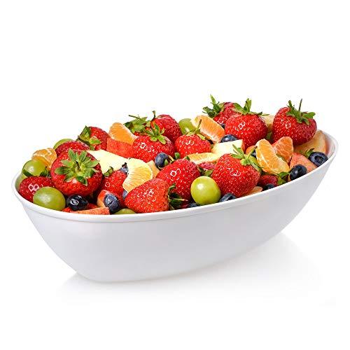 3 Stück Servierschalen aus Kunststoff 2250 ml   ovale Salatschüsseln   Küchenschüssel-Set – 1,8 Liter (8 oz) – Einweg-Schalen ~ wiederverwendbar ~ leicht ~ langlebig ~ weiß