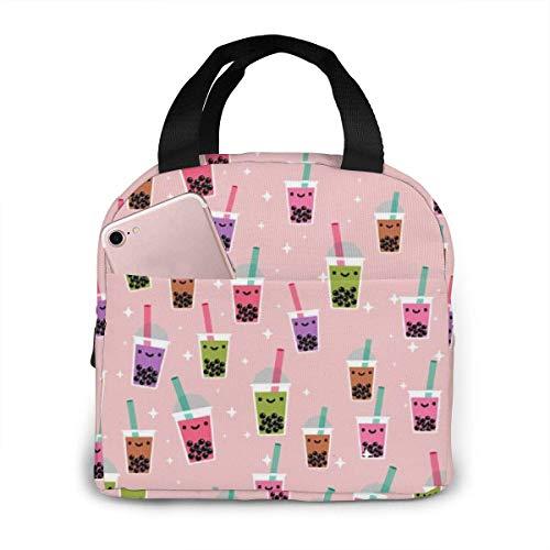 Boba Bubble Tea Reusable Insulated Lunch Bag Zipper Closure Cooler Tote Box with Front Pocket Handbag for Women/Men Office Boys Girls School