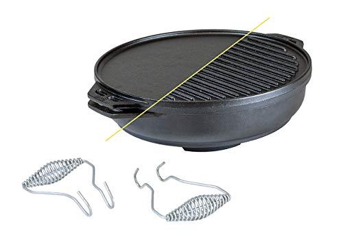 Lodge Kit de hierro fundido Cook-It-All de 5 piezas de hierro fundido incluye una parrilla reversible de 14 pulgadas, 6.8 cuartos de fondo/wok, dos asas resistentes y un folleto de consejos y trucos.