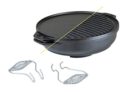 Lodge Cast Iron Cook-It-All Kit. Five-Piece Cast Iron Set includes a Reversible Grill/Griddle 14 Inch, 6.8 Quart Bottom/Wok, Two Heavy Duty Handles, and a Tips & Tricks Booklet.