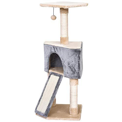 Pawhut Árbol para Gatos con Cueva Juguete Colgante Rampa Rascador y Posters Rascadores Cuerda de Sisal 40x40x98 cm Gris y Beige
