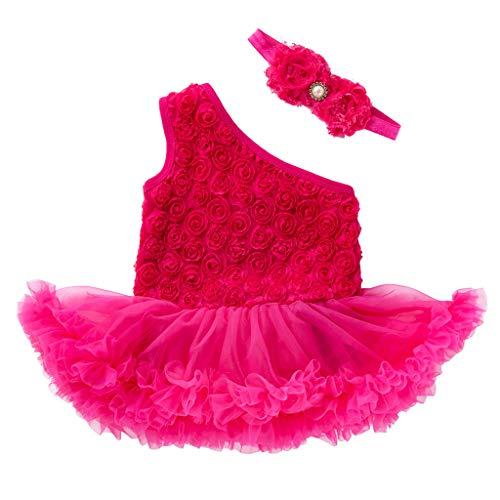 JUTOO Vestido de Flor sin Mangas + Venda para la Cabeza de 2 Piezas, para bebés y niños pequeños(59,66,73,80)