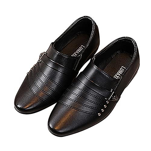 Dinnesis Zapatos de bebé para niños pequeños, estilo británico, informales, de piel, para bodas, con traje, Negro , 30