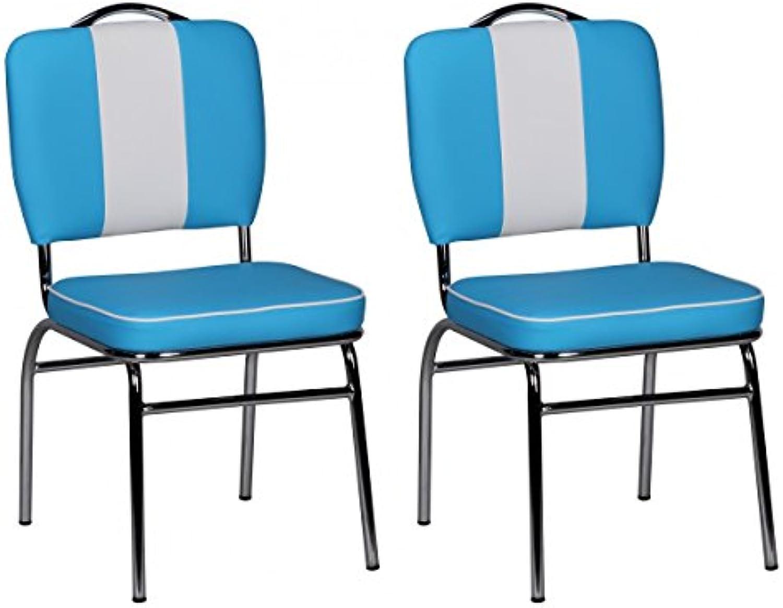 FineBuy 2er Set Esszimmerstühle King American Diner 50er Jahre Retro 2 Stühle  Sitzflche gepolstert mit Rücken-Lehne  Essstuhl Doppelpack Sitzhhe 76 cm  Farbe Blau Wei