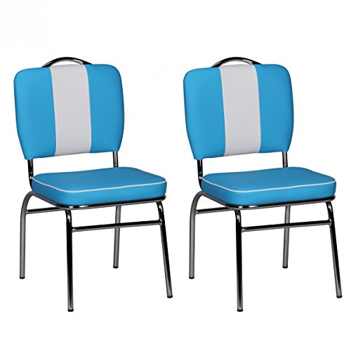 FineBuy 2er Set Esszimmerstühle King American Diner 50er Jahre Retro 2 Stühle | Sitzfläche gepolstert mit Rücken-Lehne | Essstuhl Doppelpack Sitzhöhe 76 cm | Farbe Blau Weiß