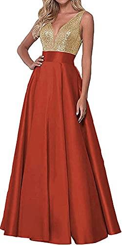 DELEND Vestido de Fiesta con Cuello en V para Mujer Vestido Largo de Dama de Honor de satén con Lentejuelas y Bolsillos Vestidos de Fiesta de Noche Formales 2021