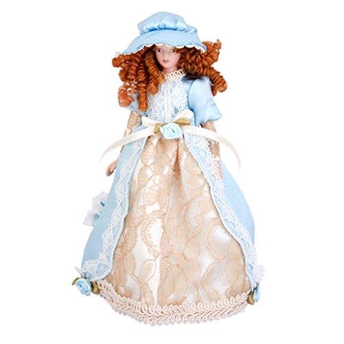 1/12 Casa de Muñecas en Miniatura Porcelana Dama Victoriana en Vestido y Sombrero