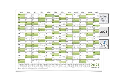 XXL Calendario da parete/Pianificatore annuale 2021 – Formato DIN A0 (118,0 x 84,4cm) grande, piegato, verde