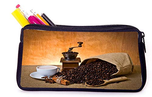 Coffee Grinder and Coffee Beans Coffee Cup Pencil Case for School Supplies for Office Supplies, Gameboy DS, MP3, or Makeup Supplies
