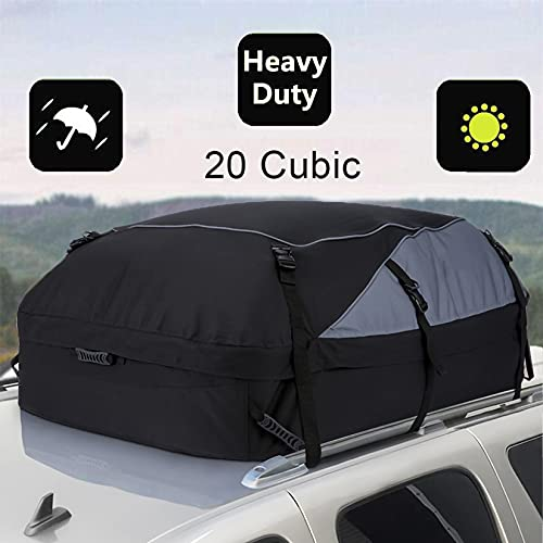 20 Cubic Car Cargo Roof Bag - Waterproof Duty Car Roof Top Carrier - Easy to Install Soft Rooftop...