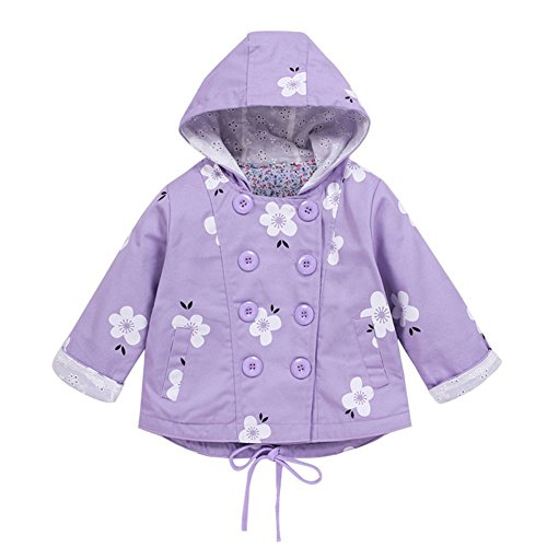 G-Kids G-Kids Baby Mädchen Jacke Übergangsjacke Gedruckt Kapuzenjacke Kinder Prinzessin Frühling Herbst Outwear Lila 120