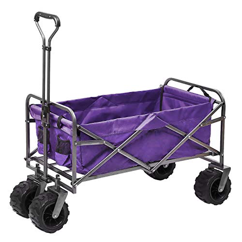 Outdoor Innovations Heavy Duty Collapsible All Terrain Folding Beach Wagon Utility Cart (Purple)