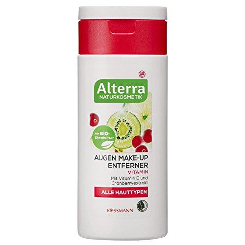 Alterra Augen Make-up Entferner Vitamin 100 ml für alle Hauttypen, mit Vitamin E & Cranberry, mit BIO-Sheabutter, zertifizierte Naturkosmetik