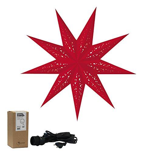 Papieren ster rood met accessoires, kerstster baby rosso S klein, papieren ster met accessoires, kabel zwart, kerstster decoratieve lamp, raamdecoratie woondecoratie, vouwster cadeau-idee
