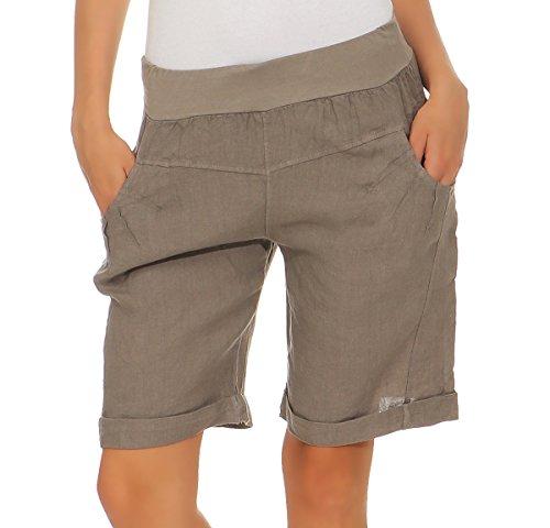 Mississhop 276 Damen Leinenshorts Bermuda lockere Kurze Hose Freizeithose 100% Leinen Shorts Elegante Haremshose mit Knöpfen Sommer Strand Fango L