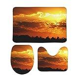 Set of 3 Forest Mountain Range Sunrise Volcano Dawn Dusk Landscape Maschinenwäsche Bad Kommode Contour Teppich Anzug für Badezimmerdekor White 50x80cm