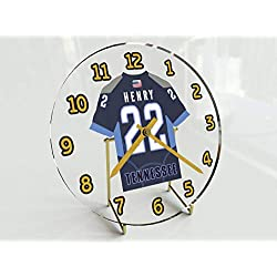 Football Team Desktop/Shelf Clocks - All N F L Colors Available - Size 7 X 7 X 2 Any Name Any Number Any Team !! (T E N Edition)