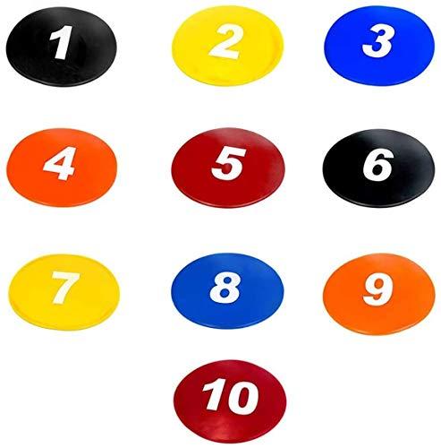 TNZMART 9 Inch Spot Markers Multicolor Number Football Yard Markers Anti-Slip Floor Spot Markers for Soccer Training 10 Pcs