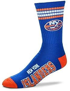 For Bare Feet NHL 4 Stripe Deuce Crew Men Socks-New York Islanders-Large (10-13)