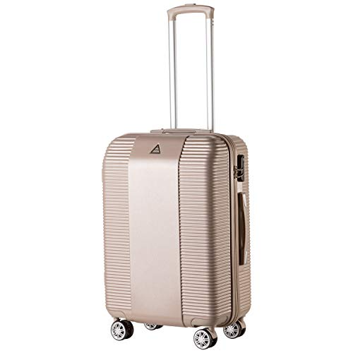 Florence Trendy Lightweight Cabin Sized Suitcase 8 Wheeled Carry On Case Or Matching Medium/Large Suitcases (Champagne, Medium)