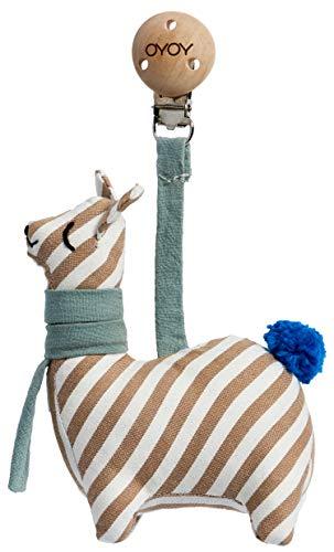 OYOY Mini Baby Kinderwagen Clip Lama - Baby Spielzeug mit Holzclip als Kinderwagenanhänger aus Baumwolle