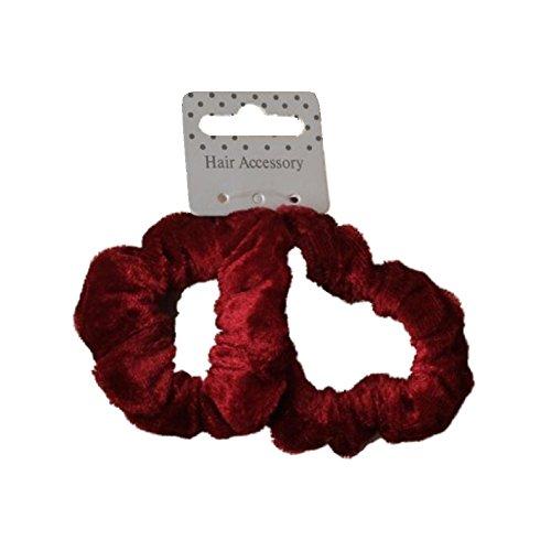 Cheveux satin floral tissu scrunchie Bobble Marron Noir Bourgogne bande élastique