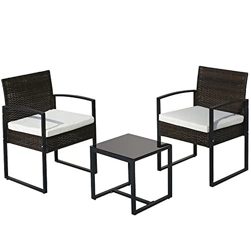 belupai Juego de muebles de jardín de ratán de 3 piezas, juego de sofá con 2 sillones y 1 mesa de jardín al aire libre para interiores