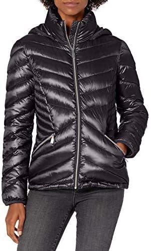 Calvin Klein womens Chevron Packable Down Coat Black L product image