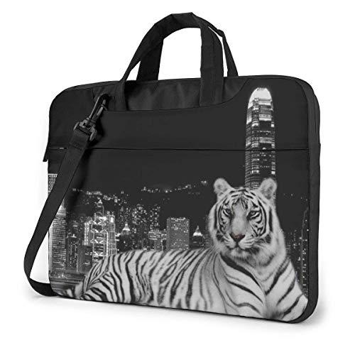 Laptop Shoulder Bag Black Tiger Notebook Sleeve Case, Shockproof Carrying Briefcase Sleeve with Organizer Pocket