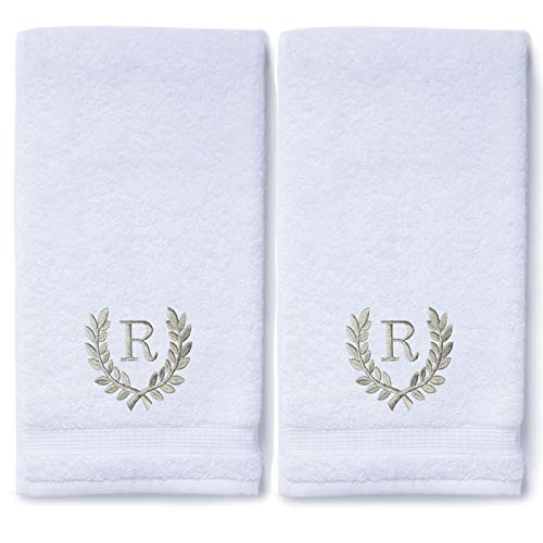 Decorative and Monogrammed Hand Towels for Bathroom Kitchen Makeup   Personalized Gift for Wedding-Bridal   Roman Font Custom Luxury Turkish Towel   Spa Collection, Oversized, 16 X 30 Inch, Set of 2