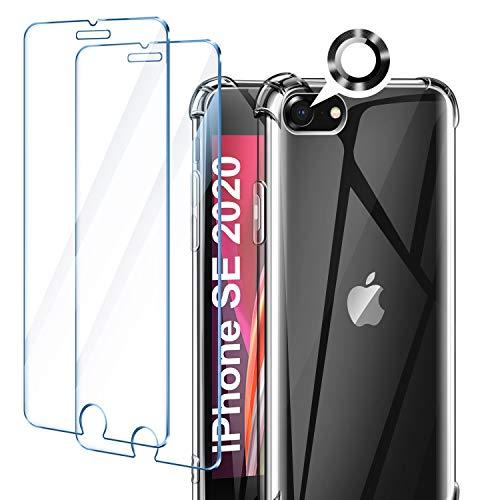 AROYI Cover Compatibile con iPhone SE 2020, iPhone 8, iPhone 7, 2 Pezzi Vetro Temperato e 2 Pezzi Pellicola Fotocamera,Trasparente