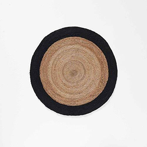 Alfombra Decorativa Redonda (0) 90 cm Yute Bicolor Salem Negro
