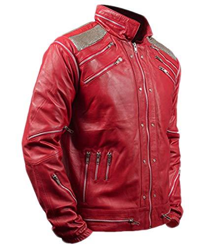 Emporrio ARMANI Michael Jackson - Giacca da Uomo e da Donna, in Vera Pelle, con Cerniera, Colore: Rosso Nero M -Petto 94/97 cm
