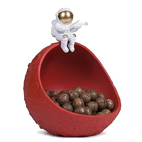 WXHXSRJ Adornos de Almacenamiento de esculturas de Astronauta, Muebles de decoración de Estatua de Astronauta de Resina nórdica, Caja de Almacenamiento de Llaves de Entrada de Porche,Rojo