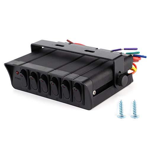 Yctze - Controlador de Caja de Interruptor basculante de 6 Bandas, 3P, luz roja, Interruptor basculante Universal de Encendido/Apagado, Interruptor retroiluminado, Soporte de Montaje Ajustable para