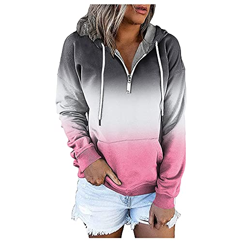 Sudaderas casuales para mujeres Pullover con capucha Sudaderas sueltas de manga larga otoño Tops acogedor suéter camisas, rosa, M