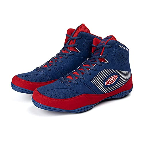 SAMEVE Boxing Shoes for Men Men's Wrestling Shoes AS6089 (Blue/Red, Numeric_8)