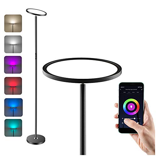 Anten LED Lámpara de Pie Regulable, WiFi Inteligente Luz de Pie Salon Multicolor Funciona Compatible Alexa/Google Home, 25W RGB Regulable y Blanco Cálido a Frío Lámpara de Pie Inteligente