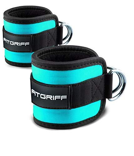 Fitgriff® Fußschlaufen (gepolstert) - für Fitness Training am Kabelzug - (2 Stück) Ankle Straps für Frauen und Männer