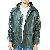 Style It Up Mens Ladies Rain Jackets Waterproof Hooded Cagoule Outdoor Over Coat Windbreaker, (Olive, XL)