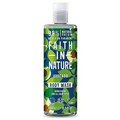 Faith in Nature Natürliches Avocado Duschgel, Pflegendes, Vegan & Ohne Tierversuche, Frei von Parabenen und SLS, 400 ml