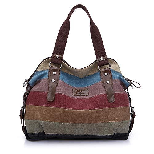 MINGZE Borsa Donna, Borse a Mano Borse Tela Borse Tracolla Multi Colore Strisce Borse a Spalla Borsetta Messenger Bag