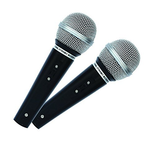 Mr Entertainer MKM222 - Microfono dinamico palmare, per karaoke, 1 coppia Perfetti per l'uso con attrezzature per karaoke.
