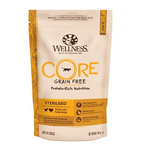Wellness CORE Sterilised Getreidefreies Katzenfutter Trocken, Hoher Fleischanteil, Huhn und Pute, 300 g